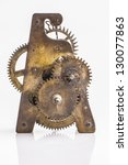 Antique clock gold gears - stock photo