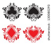 playing card ornament | Shutterstock .eps vector #130080293