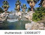 palm trees flourish around a...   Shutterstock . vector #130081877