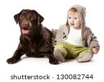 little boy and labrador , Best friends - stock photo