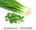 chopped green onions on white - stock photo