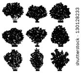 Bushes Silhouettes Vector Set.
