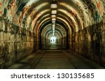 Urban underground tunnel  with light - stock photo