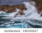 Huge Waves Crashing On The...