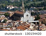 Florence - the view on Santa Croce from the dome Duomo - stock photo