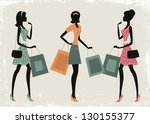 women shopping on a retro... | Shutterstock .eps vector #130155377