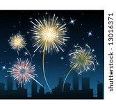 fireworks over the city   Shutterstock .eps vector #13016371