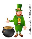 leprechaun with cauldron full... | Shutterstock .eps vector #130163837