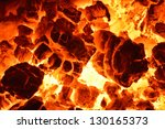 Burning Coal. Close Up Of Red...