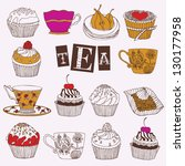 Tea and cupcakes card - stock vector
