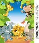 fun jungle animals border | Shutterstock .eps vector #130210757