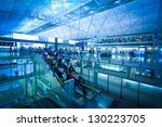 Hong Kong Airport Escalator - stock photo