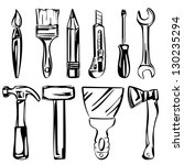 tools vector set vector illustration realistic sketch - stock vector