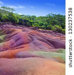 Main sight of Mauritius- Chamarel-seven-color lands. - stock photo