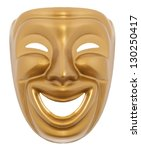 Comedy  theatrical mask isolated on a white background - stock photo