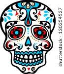 mexican skull   flower ornament ... | Shutterstock .eps vector #130254527