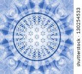 flower of life   blue   sacred...   Shutterstock . vector #130254533