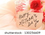 hand written Mother's day card and flower - stock photo