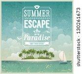 Vintage seaside view poster. Vector background. | Shutterstock vector #130261673