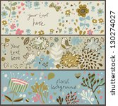 3 awesome floral banners in... | Shutterstock .eps vector #130274027
