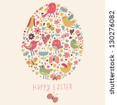 Easter concept card. Bright holiday background made of flowers, birds, hearts and butterflies in cartoon style in vector - stock vector