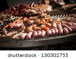 View of this outdoors large barbecue. - stock photo