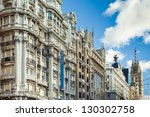 View of Gran Via of Madrid. - stock photo