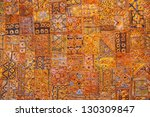 india fabric background patchwork ornate - stock photo