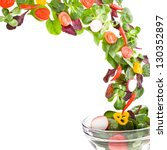 flying  fresh salad isolated... | Shutterstock . vector #130352897