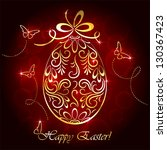 floral golden easter egg and... | Shutterstock .eps vector #130367423