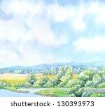 watercolor landscape background.... | Shutterstock . vector #130393973