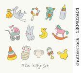 Cute cartoon baby set. Toys, carriage, baby, stork in funny vector set - stock vector