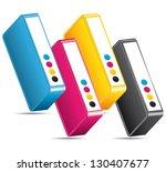 cmyk cmjn ink toners. colors... | Shutterstock .eps vector #130407677