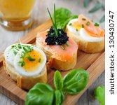 baguette sandwich with salmon ... | Shutterstock . vector #130430747