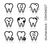 tooth   teeth vector icons set