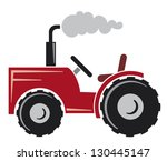 red tractor (agricultural tractor, tractor icon) - stock vector