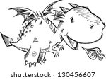 cute dragon sketch vector art | Shutterstock .eps vector #130456607