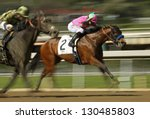 "ARCADIA, CA - FEB 23: Jockey Joseph Talamo and ""Splendid Fortune"" compete in an allowance  race at Santa Anita Park on Feb 23, 2013 in Arcadia, CA. - stock photo"