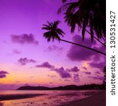 Stock photo tropical beach with palm trees at sunset thailand 130531427