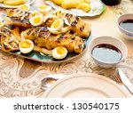 Baked Cod Fish - Portuguese Style - stock photo