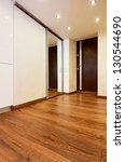 Modern minimalism style corridor interior with sliding-door mirror wardrobe - stock photo