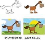 horse cartoon character. raster ... | Shutterstock . vector #130558187