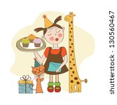 happy birthday card with funny... | Shutterstock .eps vector #130560467