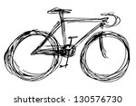 bicycle silhouette - stock photo