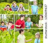 collage of friends spending... | Shutterstock . vector #130609637