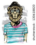 Hipster Lion - stock vector