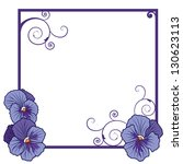 vector frame with flowers of  violet pansies  (EPS 10 ) - stock vector