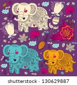 vector cartoon pattern with... | Shutterstock .eps vector #130629887