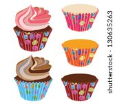 cupcake swirl frosting with... | Shutterstock .eps vector #130635263