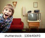 vintage art portrait of liitle... | Shutterstock . vector #130640693